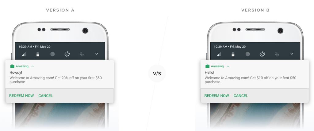Mobile app AB testing push notifications
