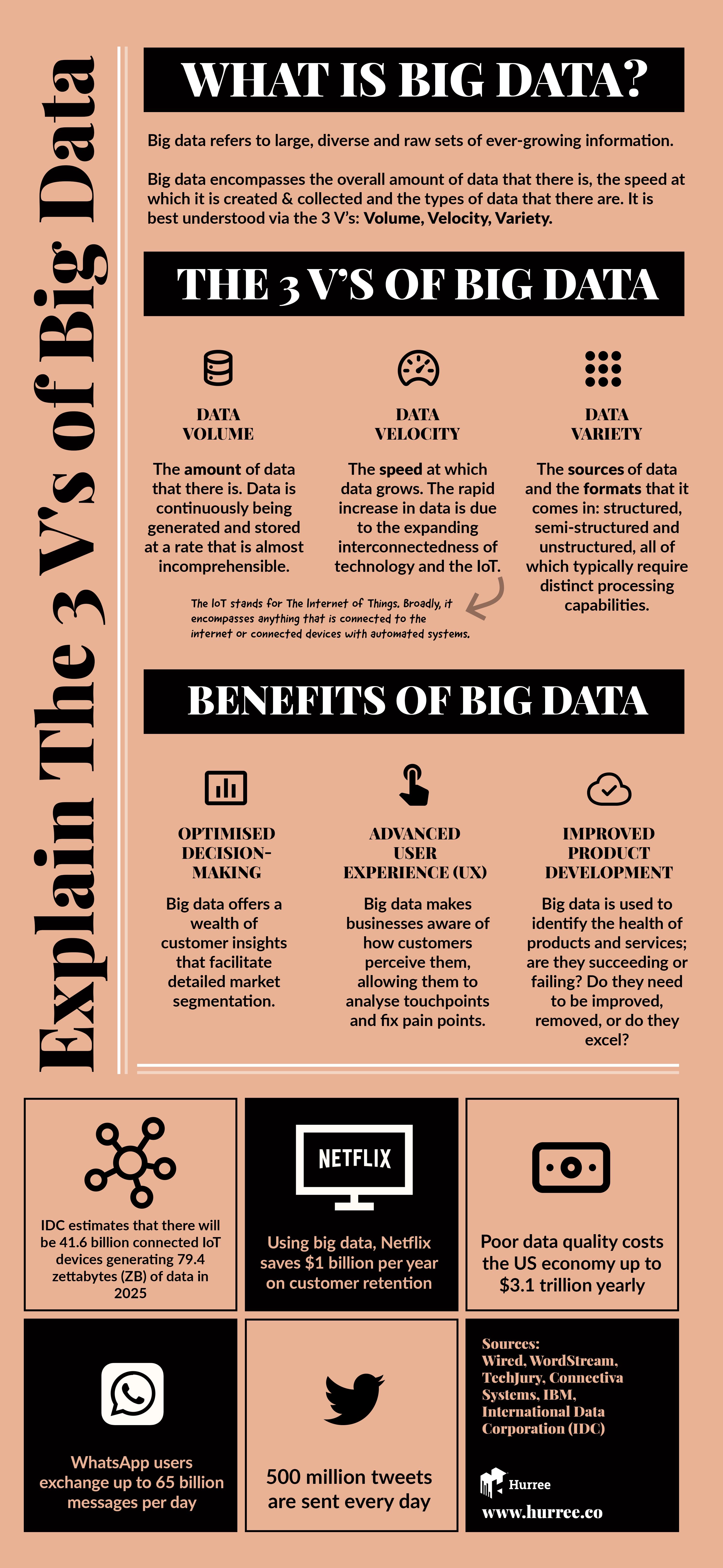 Infographic what are the 3 V's of big data? Explain the 3 V's of big data: data Volume, Data Velocity, Data Variety. Benefits of big data. Hurree - The Segmentation Platform