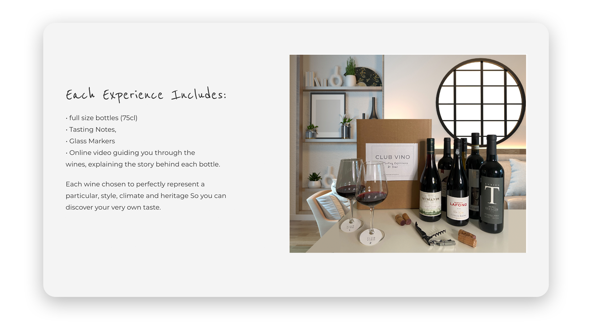 """Club Vino Experience explainer: image shows a box of wine that reads """"Club Vino"""" and 4 bottles of wine on a table with 2 full glasses of red wine."""