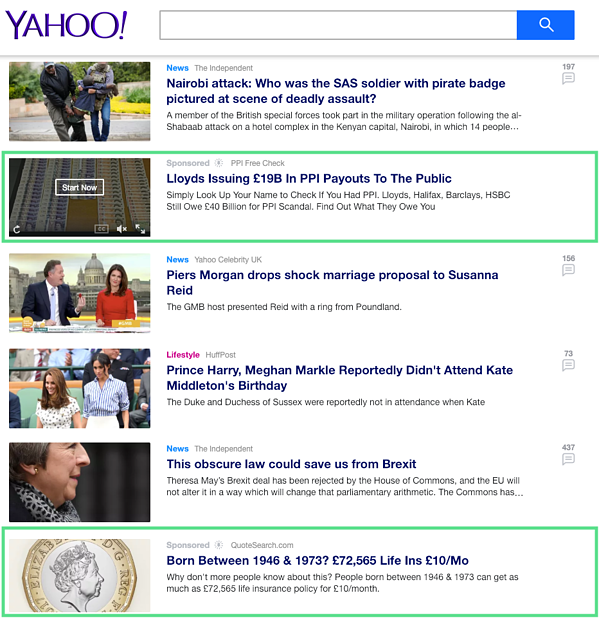 Example of sponsored content on Yahoo search engine. Hurree - The Segmentation Platform