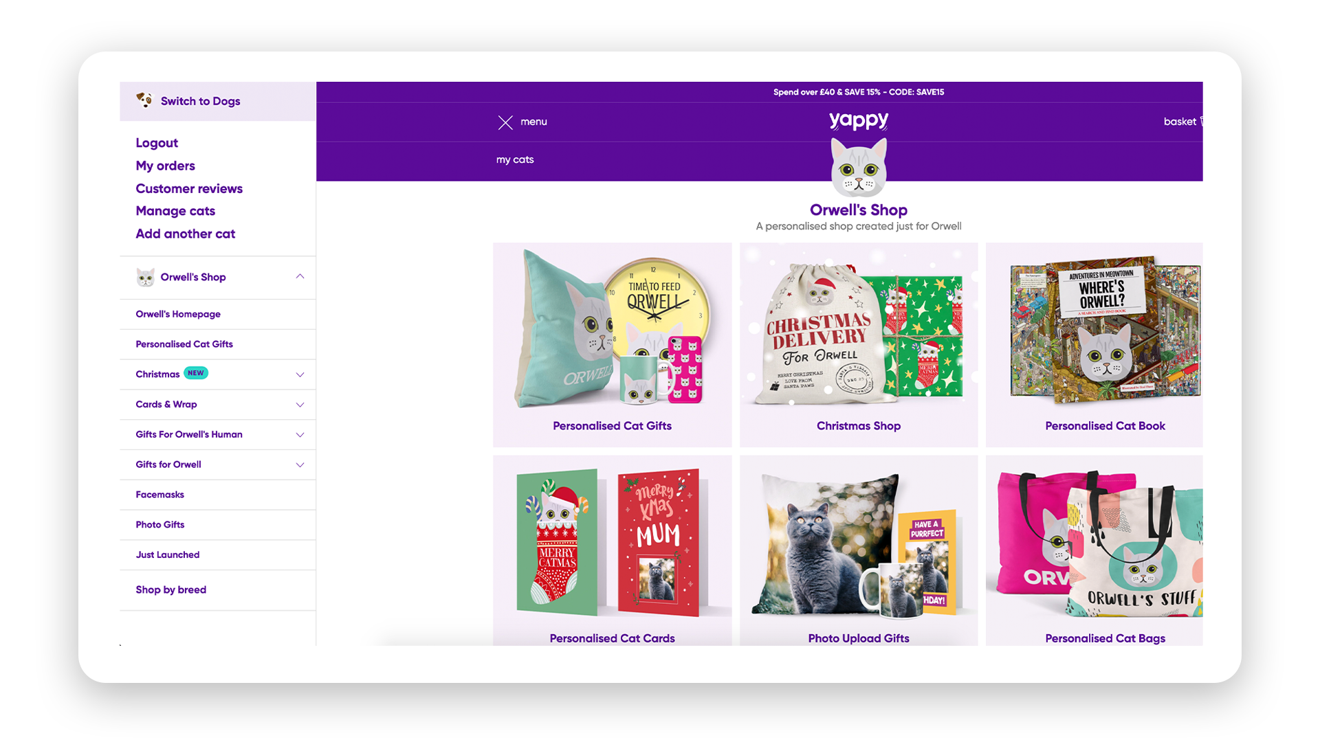 Screenshot of the Yappy online shop including Personalised cat gifts (cushions, cups, clocks, cards, bags)