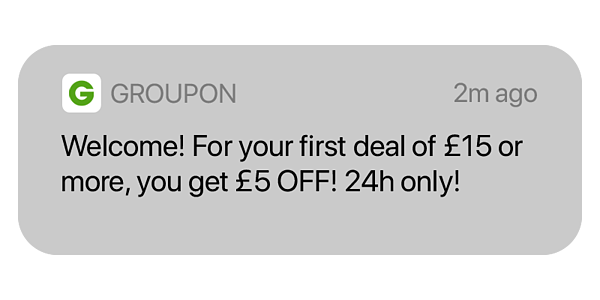 Onboarding push notification example: Groupon. £5 off, 24 hours only! Hurree.