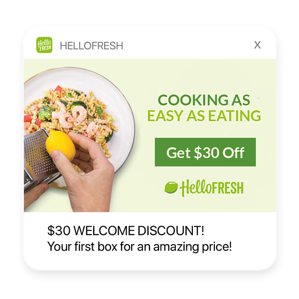 Onboarding push notification example: hellofresh. $30 Welcome Discount! Hurree.