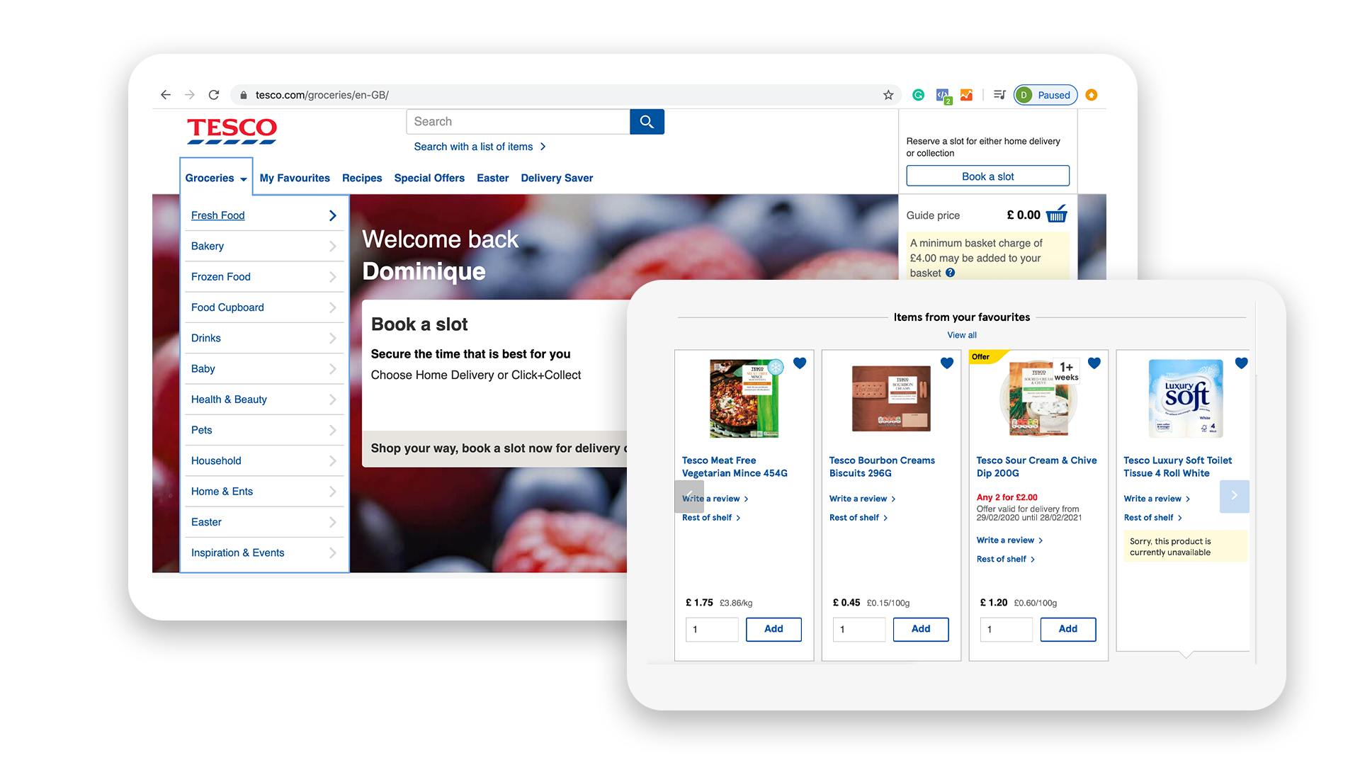 Tesco online shopping. E-commerce Personalization. Digital Transformation.